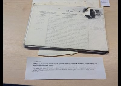 The original War Diary for the 57th Wilde's Rifles in November 1914. The origin of the 'black hole' is even mentioned in Mulk Raj Anand's novel! Photo courtesy of National Archives Kew
