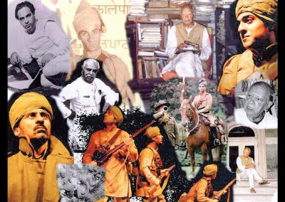 A collage celebrating the novel's author Mulk Raj Anand, and history being brought to life through his fiction. Courtesy:  Marilyn Stafford, Stewart Fraser, Alastair Niven, Imperial War Museum & Mán Melá Theatre Company